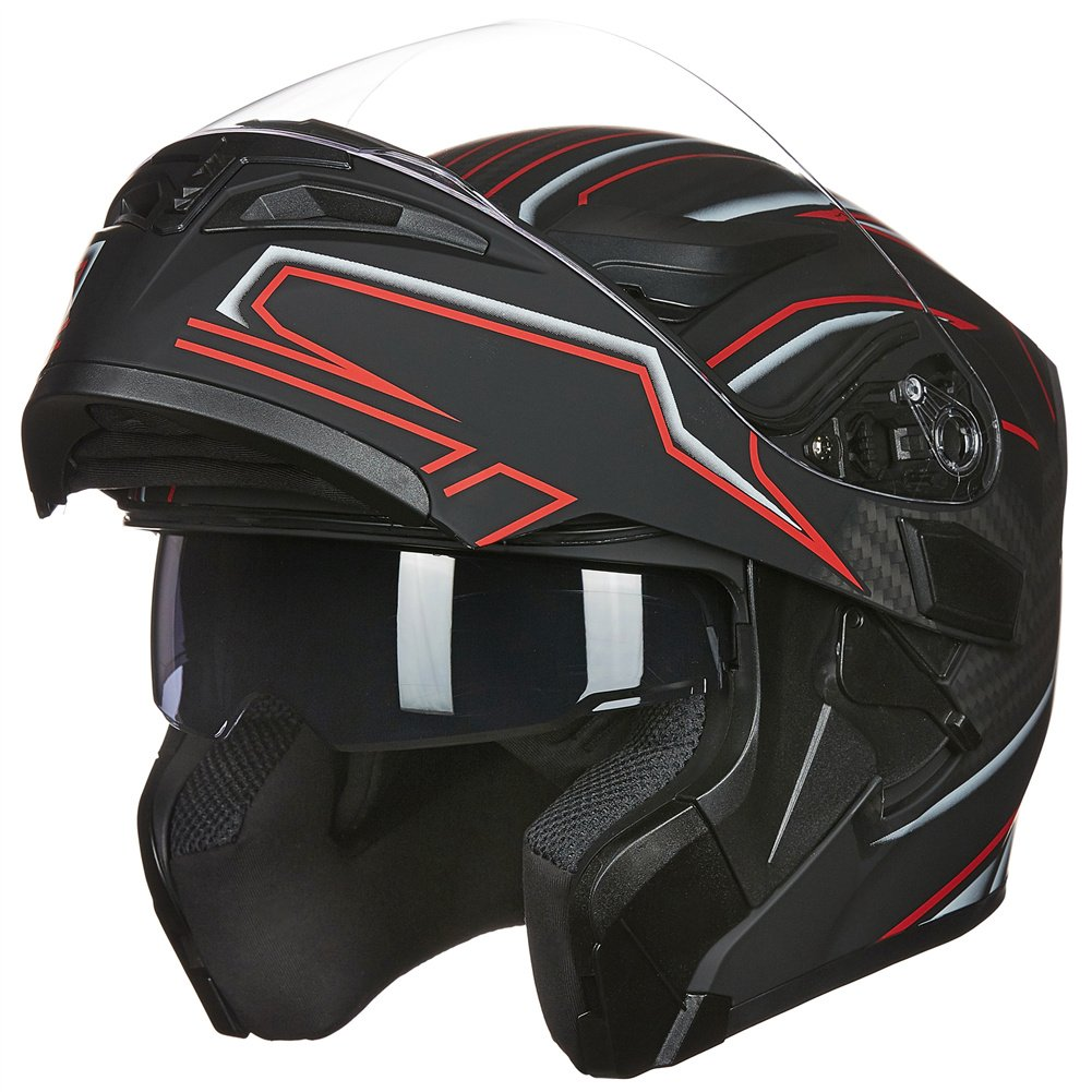 ILM Motorcycle Dual Visor Flip up Modular Full Face Helmet DOT with 7 Colors (XL, RED) 902