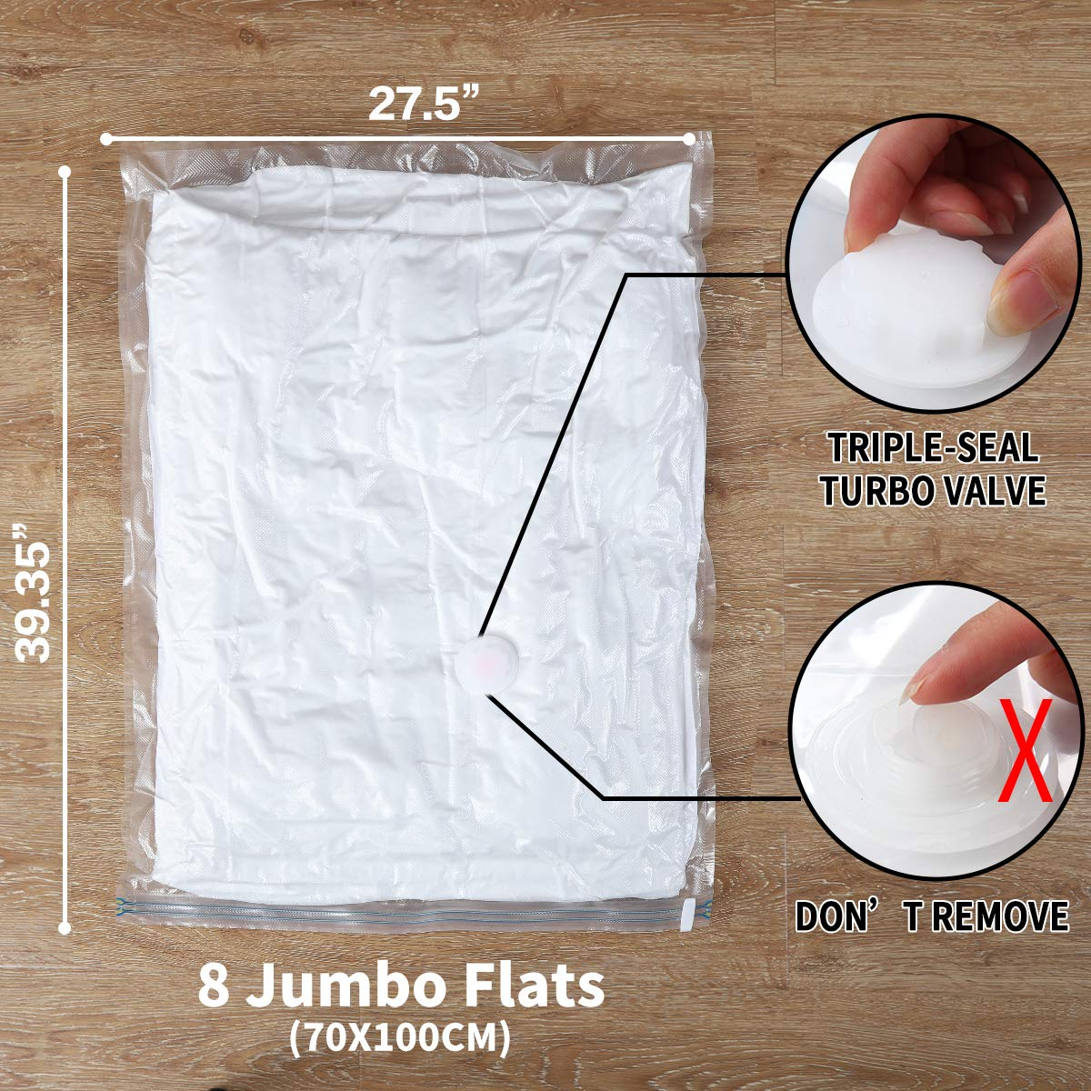 8-Jumbo Hibag 8 Jumbo Space Saver Bags Vacuum Storage Bags with Free Hand-Pump