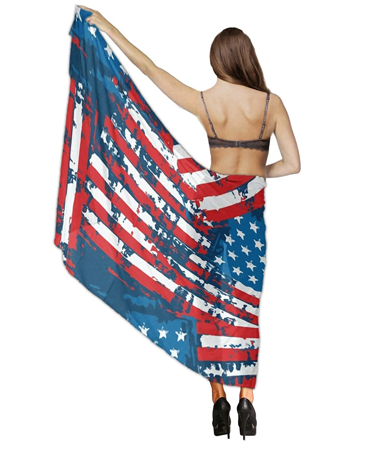 79f1510ad91 USA American Flag Patriotic Chiffon Scarf Beach Cover up Sarong Wrap gift  for women at Amazon Women's Clothing store: