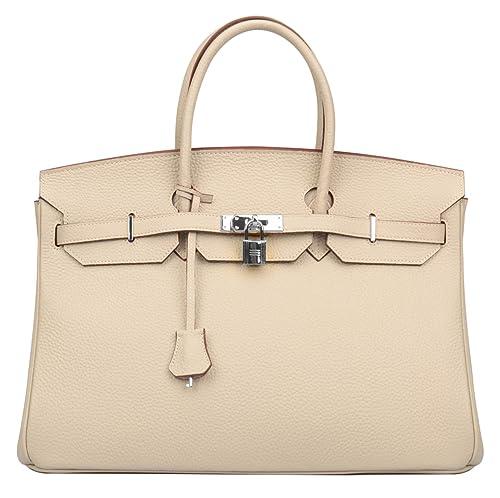 a9cd70d137 Ainifeel Women s Padlock Genuine leather 40CM Handbags (40cm(Silver  hardware)
