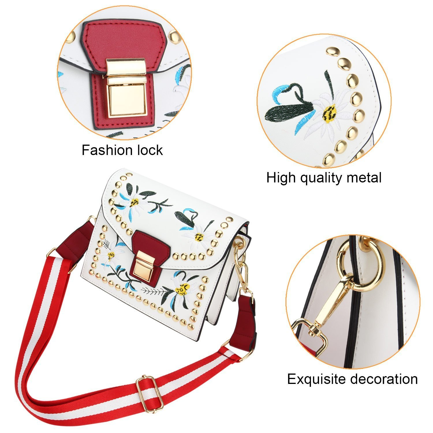 Women's Shoulder Bags, T-Antrix Embroidery Style Crossbody Bag Handbags For Girls  Women (White): Amazon.co.uk: Luggage