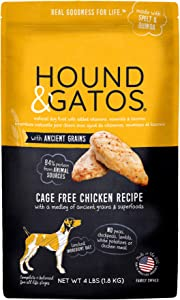 Hound & Gatos Natural Dry Dog Food, Cage Free Chicken with Ancient Grains, Made in the USA