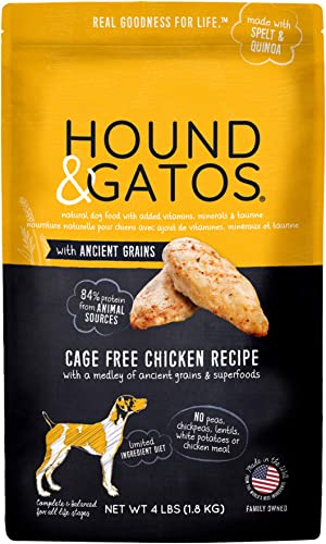Hound Gatos Ancient Grain Dry Dog Food, Cage Free Chicken Recipe, 4 lb bag