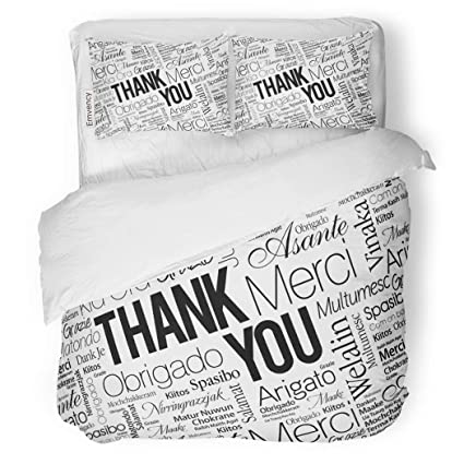 Amazon.com: SanChic Duvet Cover Set Collage Thank You Word ...