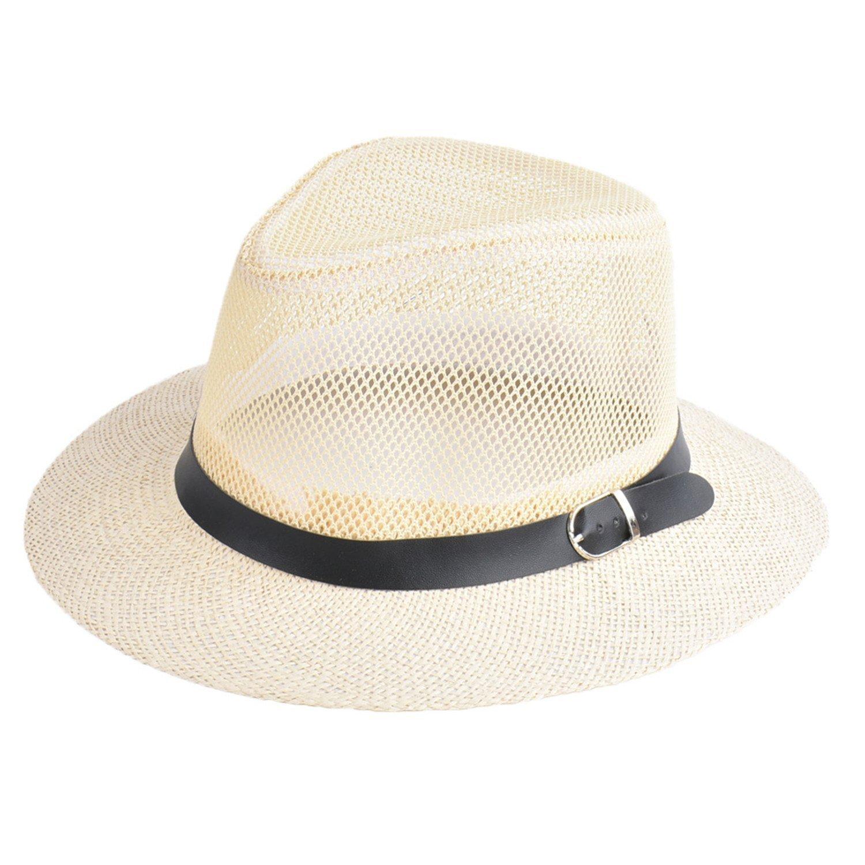 684b44f66ddb0 Amazon.com  Rankei Women Spring Summer Hat Breathing Mesh Sun Cap Hollow  Out Wide-Brim Fedora Hats Bowler Floppy Straw Cap Beach Hat Sombrero  Mujer