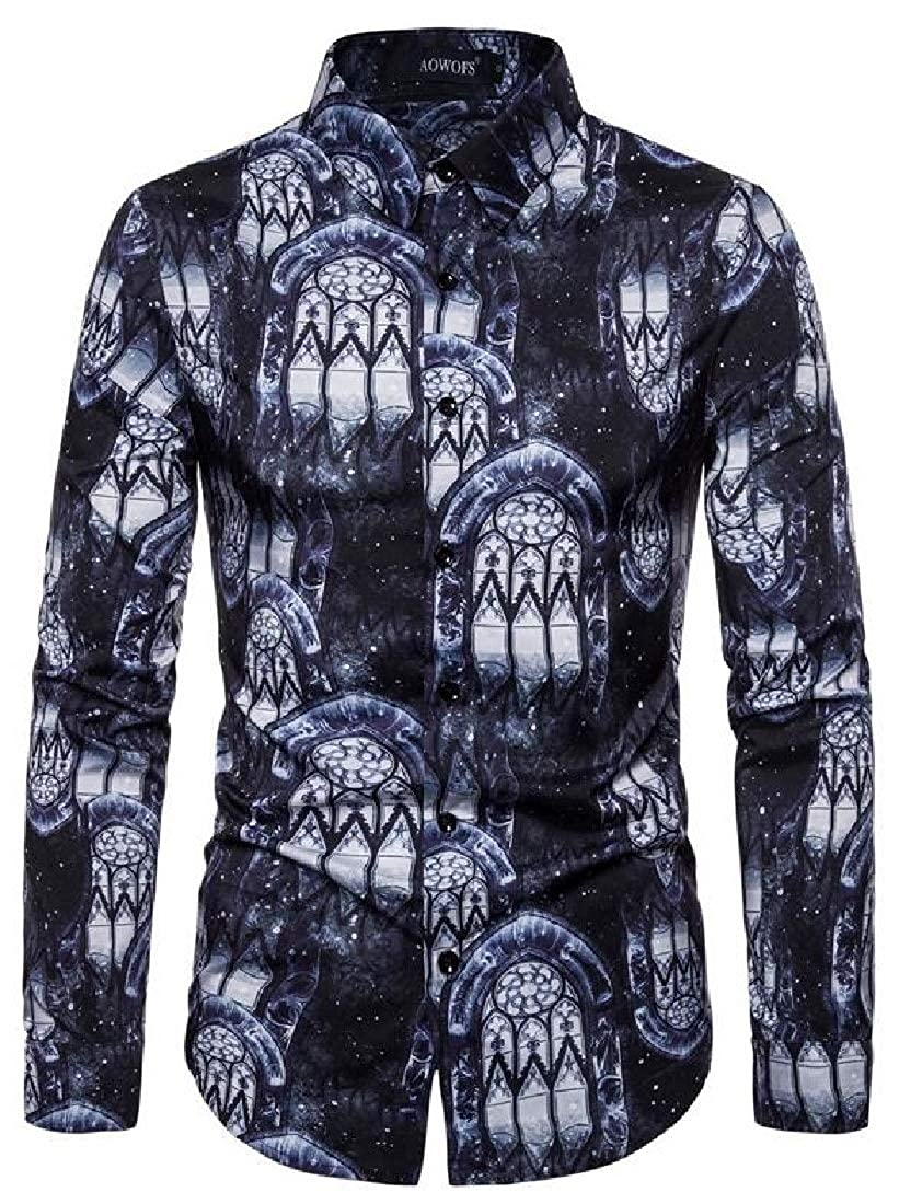 Rrive Men Long Sleeve Casual Print Button Up Regular Fit Stretchy Shirt