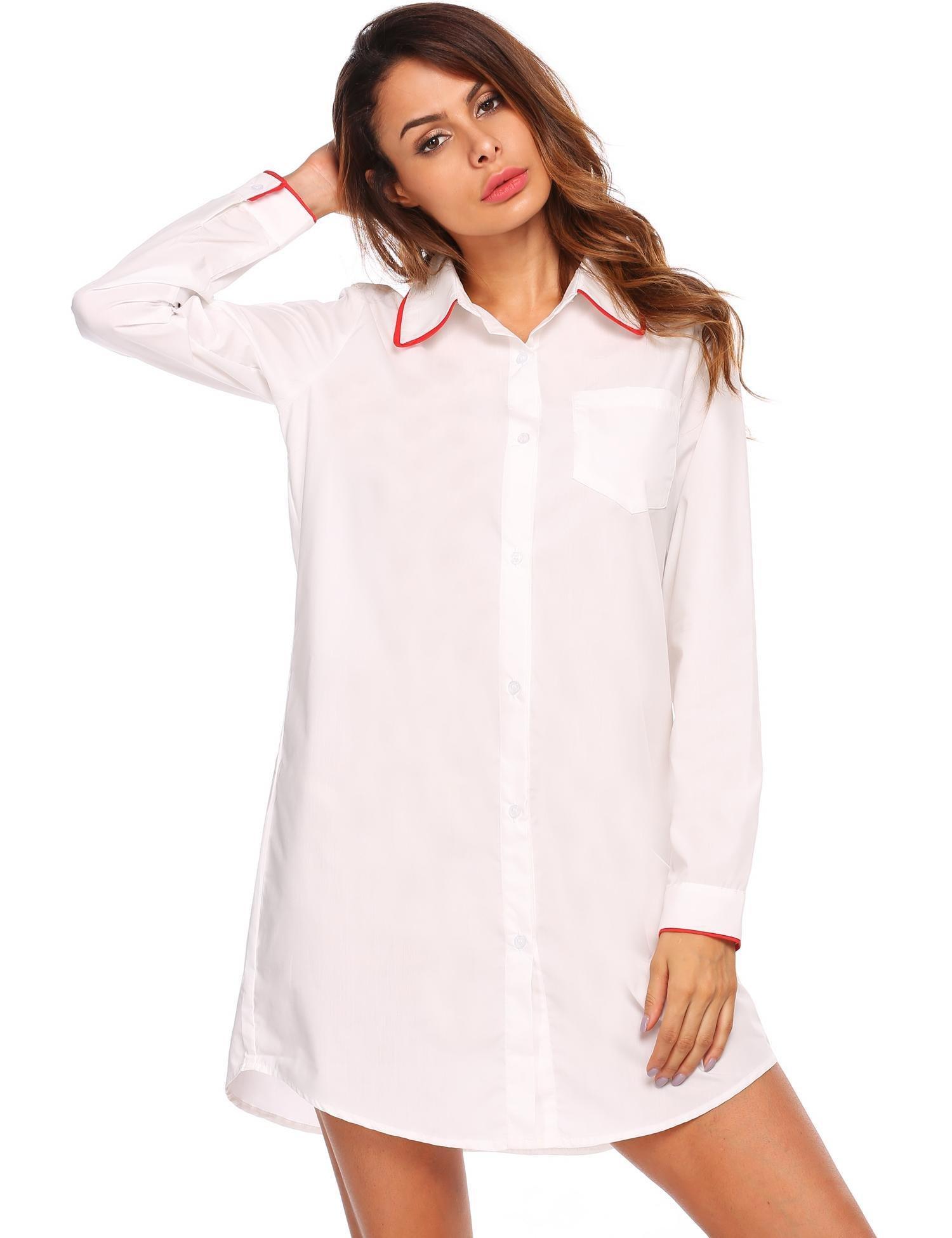 Goldenfox Boyfriend Style Sleep Shirt For Women Sexy Lon Sleeve Pajamas (White,Large)