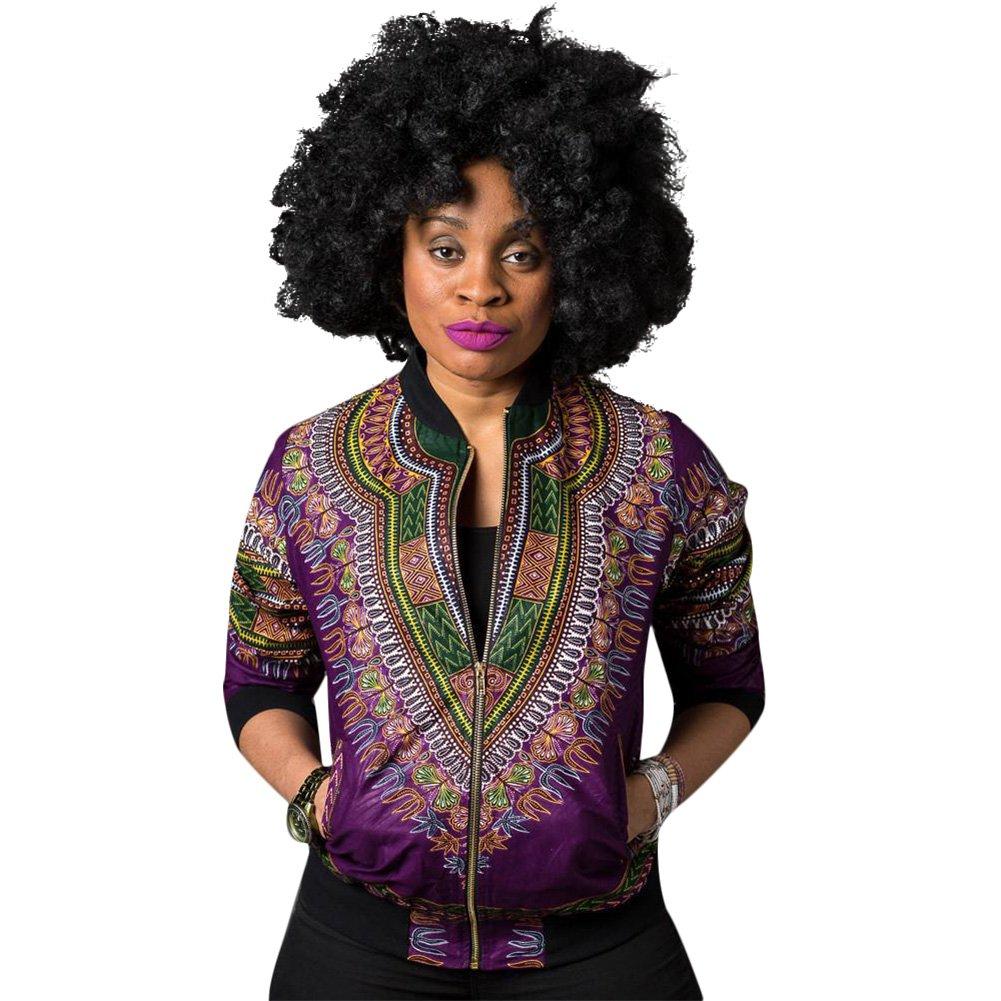 Women's Long Sleeve Vintage Traditional African Print Classic Baseball Short Biker Bomber Jacket Coat Purple, Medium