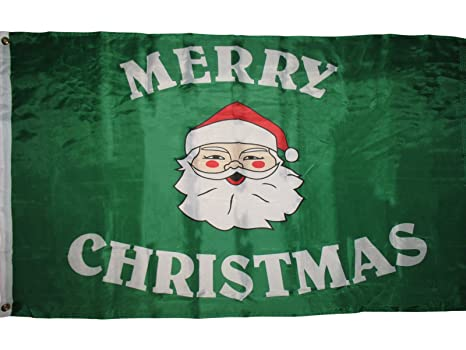 Flag 100% Polyester With Eyelets Green Merry Christmas Flag 5 x 3 FT