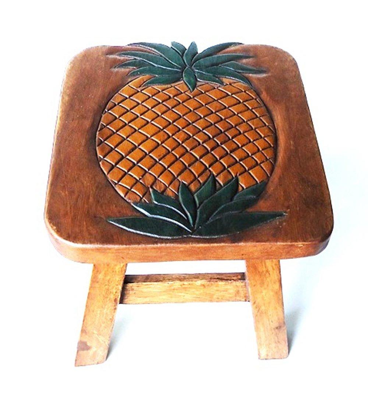 Pineapple Design Hand Carved Acacia Hardwood Decorative Short Stool by Sea Island (Image #2)
