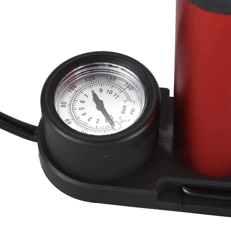 da Pavimento AYUN 140 psi Colore: Rosso Rosso a Pedale con manometro 1 Pompa di gonfiaggio ad Aria per Bicicletta Portatile