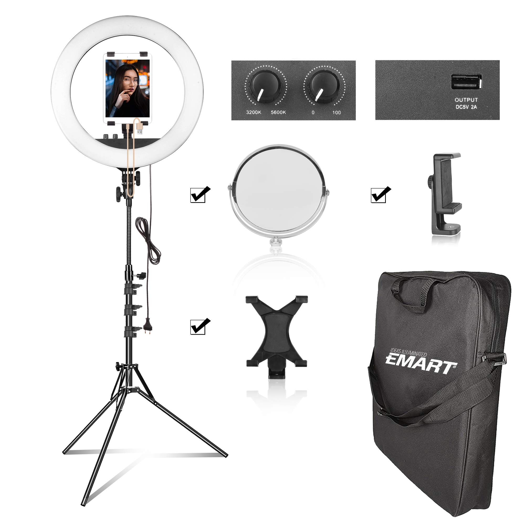 Emart 18'' Bi-Color LED Ring Light Kit with iPad & Phone Holder, USB Charging Interface and Light Stand, 55W Dimmable Continuous Circle Lighting Kit, for YouTube, Portrait, Selfie - Include Mirror by EMART