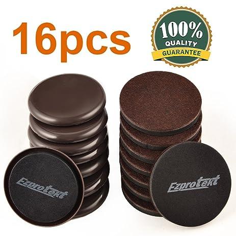 16PCS Furniture Sliders 3.5 Inch Plastic And Felt Sliders For Carpet Hardwood  Floors Reusable Brown