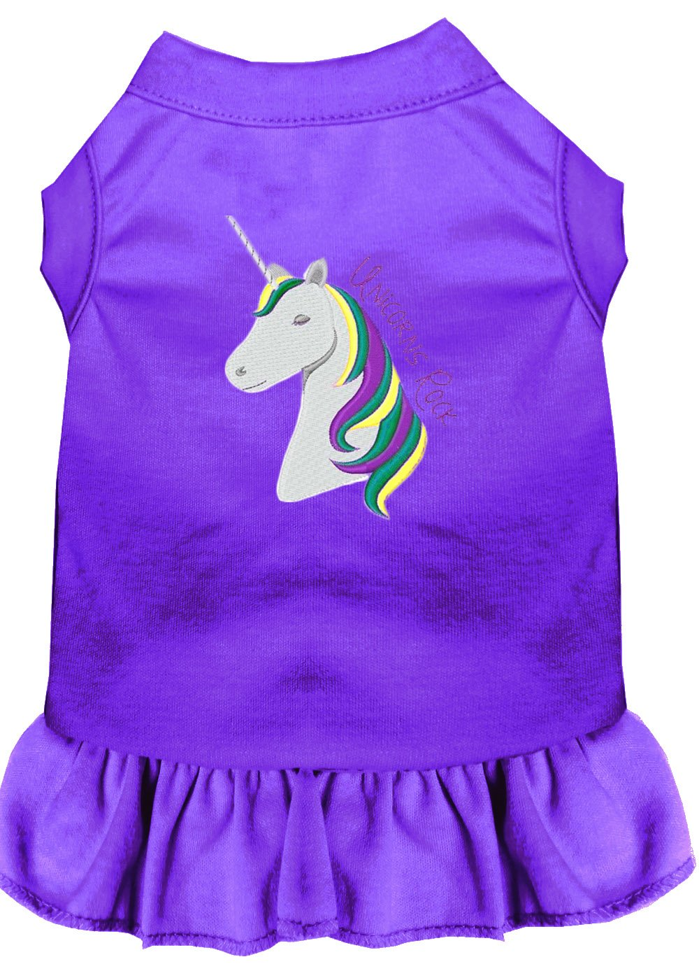 Mirage Pet Products Unicorns Rock Embroidered Dog Dress Purple Med (12)