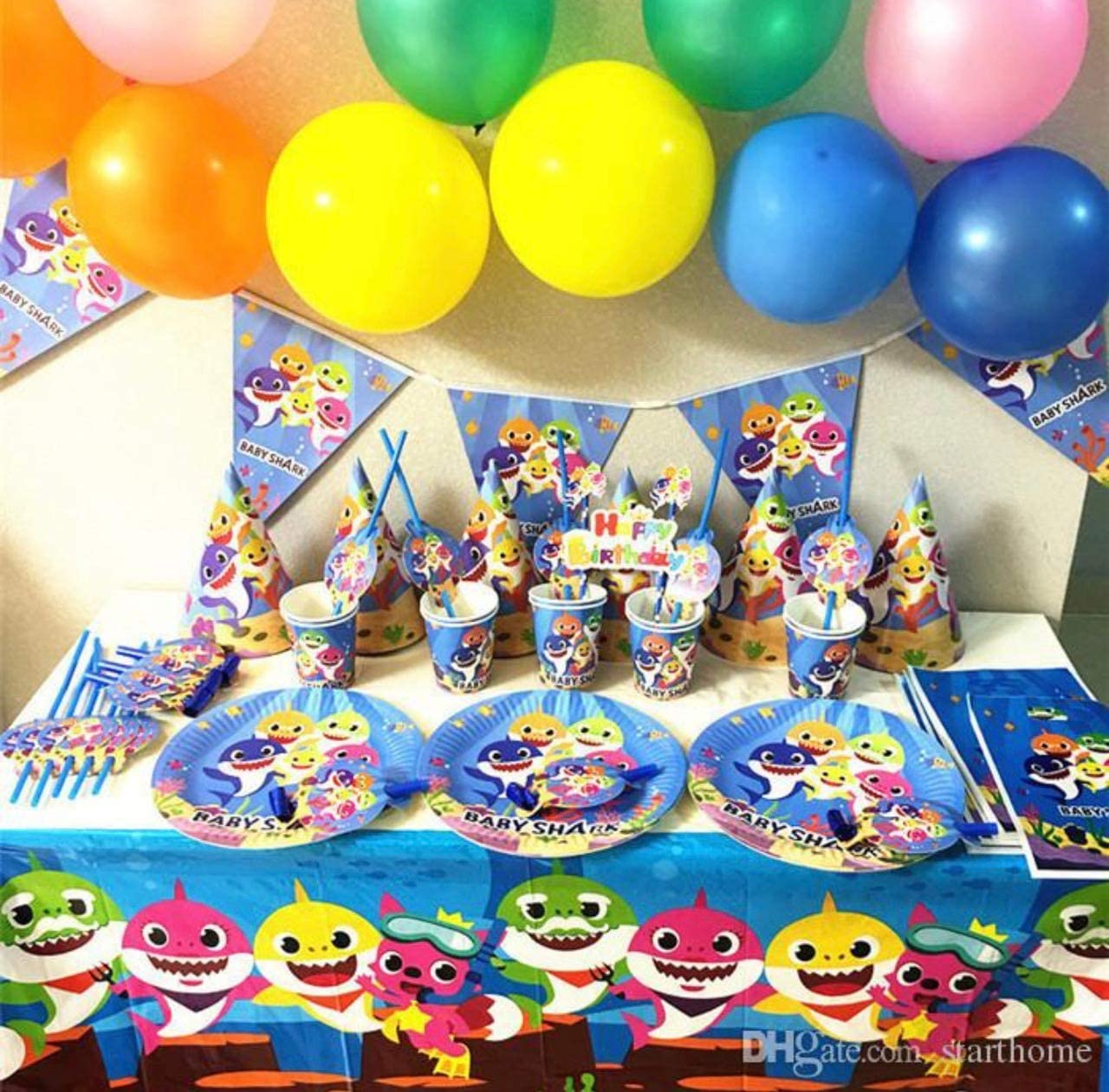 Baby Shark Birthday Party 2 PACKS of 10 Cups and 10 Straws