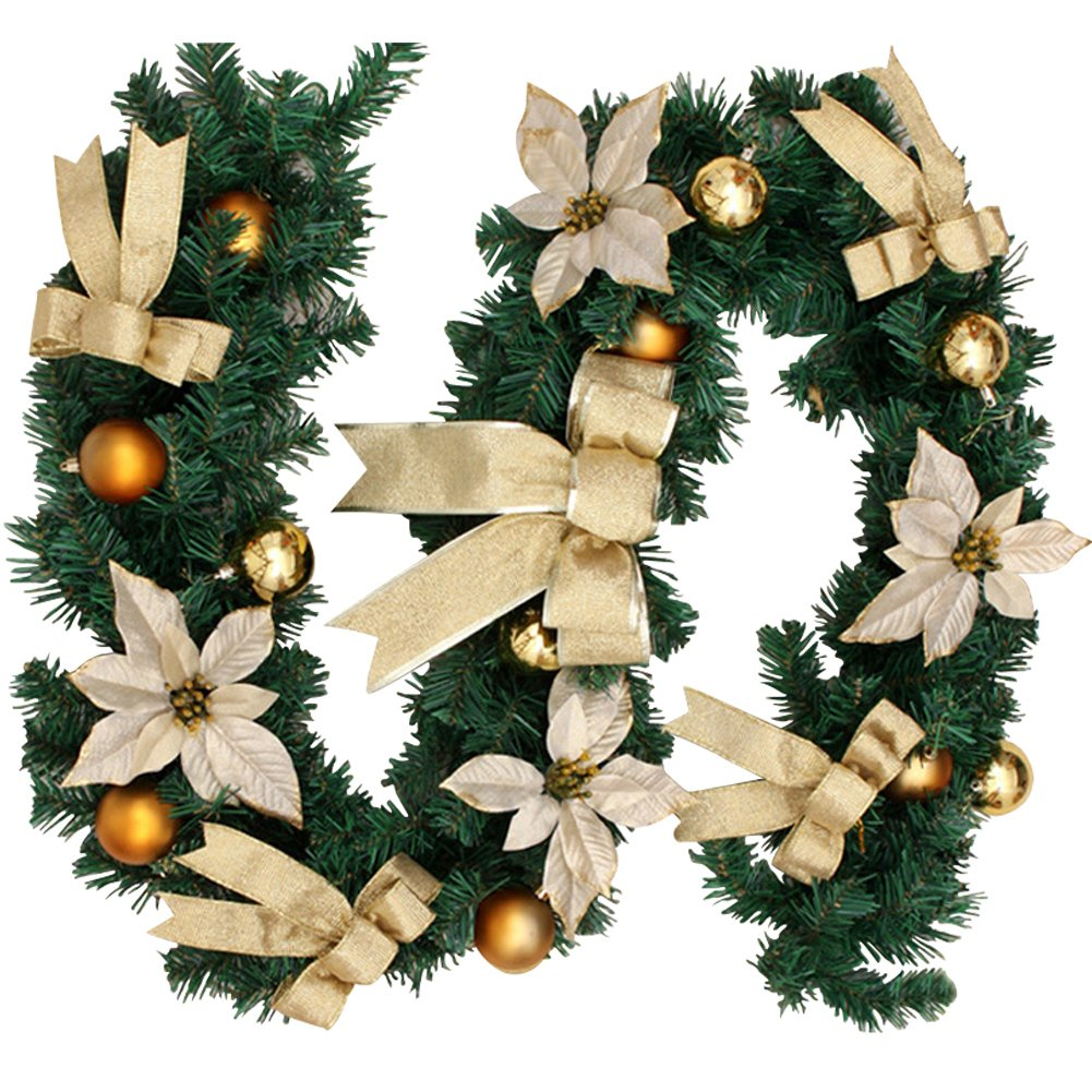 6Ft/1.8M Christmas Wreath Garland Xmas Decoration Festive Wreath Garland Gold Litteducking