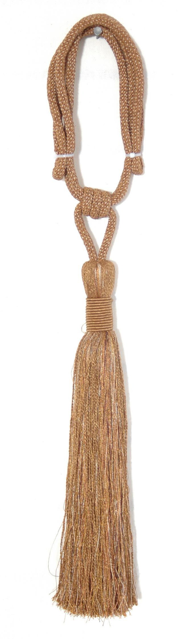 India House 79967 Vedi Tieback with 15-Inch Single Tassel and 30-Inch Cord, Earthtone