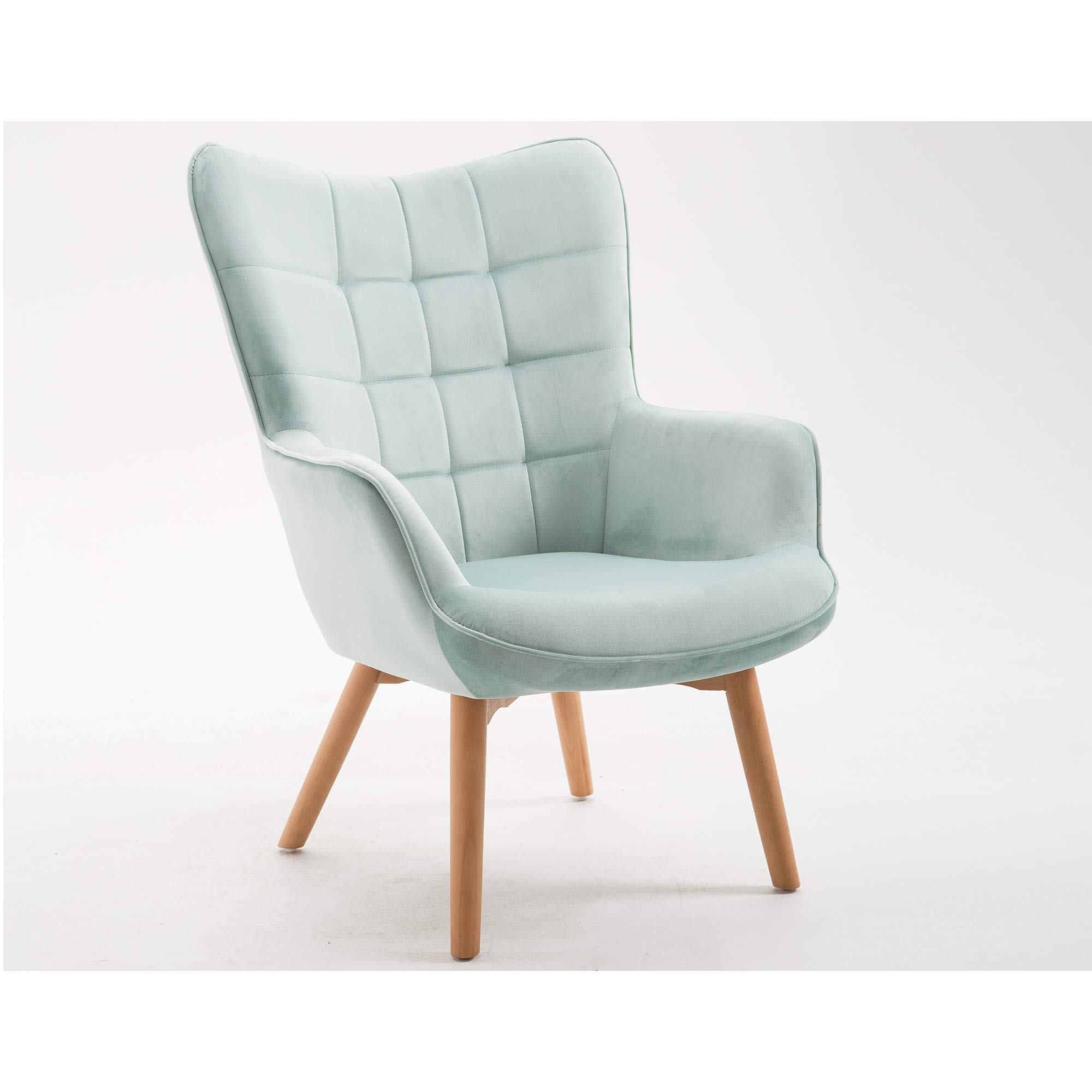 Yara Accent Chair in Robin's Egg Blue with Tufted, Velvet Like Upholstery And Wood Legs, by Artum Hill