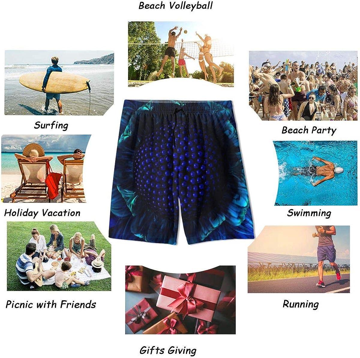 Kidhome Teenagers Boys Beach Board Shorts Blue Flower Summer Drawstring Beach Shorts Swim Trunks with Pockets for Teen Boys