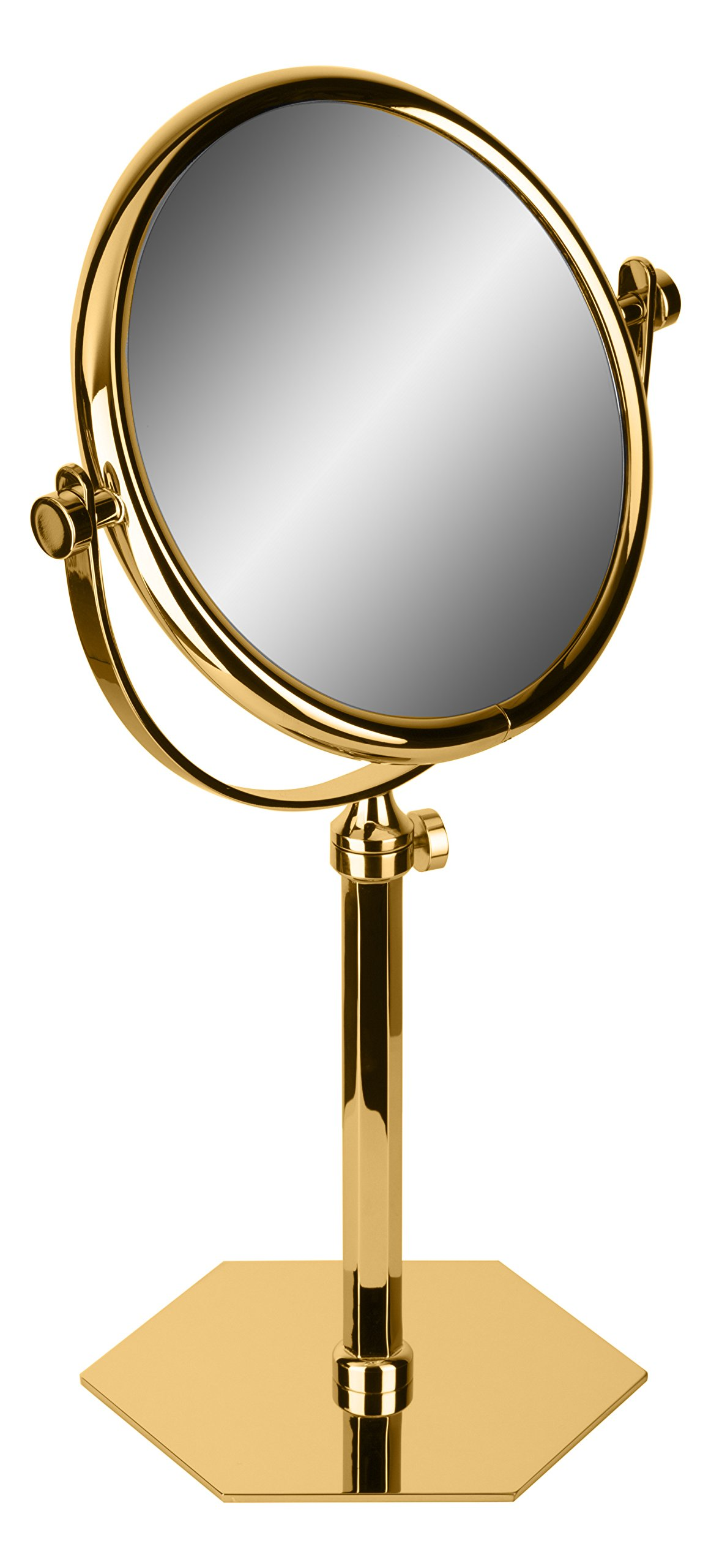 Hexagonal Table Double Sided Extendable Cosmetic Makeup Magnifying Mirror (Polished Gold, 5X Magnification)