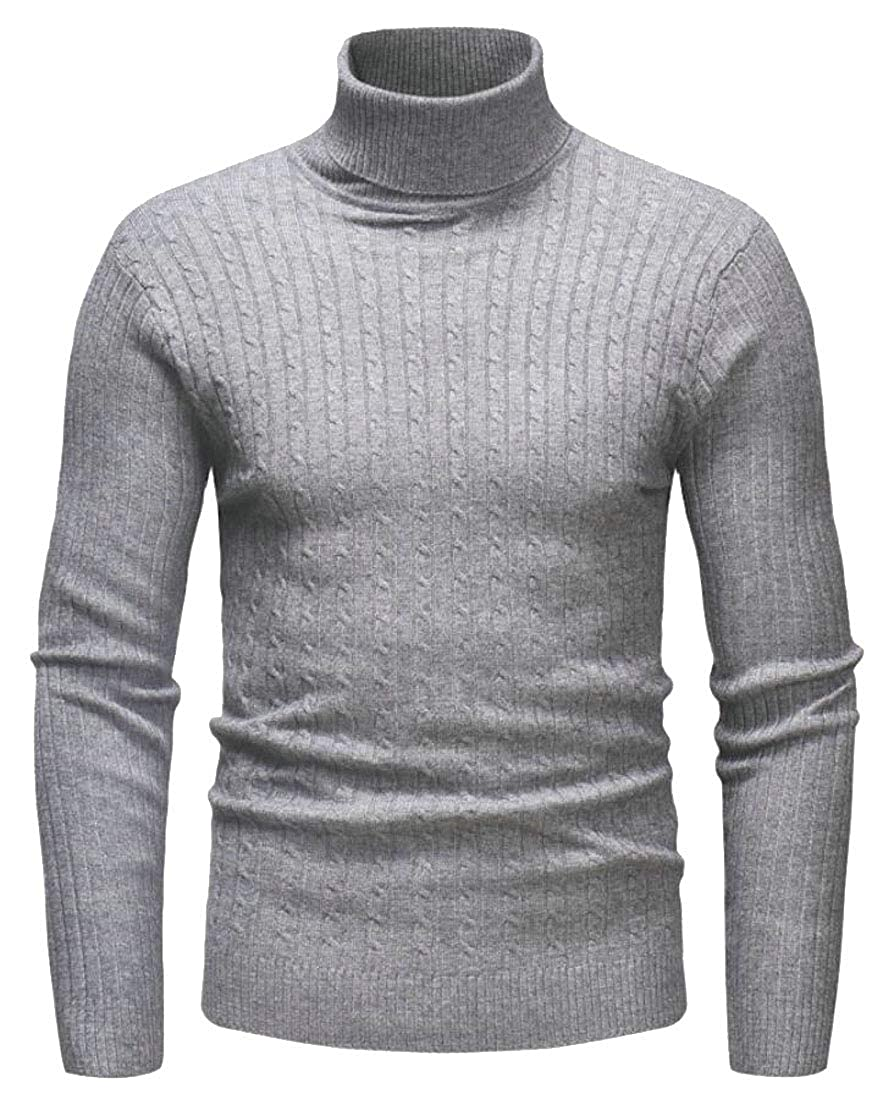 GAGA Mens Loose Fit Turtleneck Pullover Sweaters Rib Knitted Solid Color Long Sleeve Jumpers