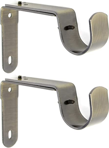 Up to Details about  /Pair of Adjustable Metal Single Curtain Pole Brackets Holders for Rod Dia