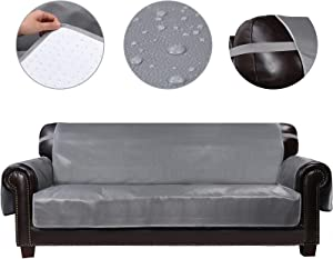 HDCAXKJ 100% Waterproof Leather Couch Cover for Dogs Anti Slip Pet Couch Covers for 3 Cushion Couch Recliner Sofa Cover for Living Room Sofa Slipcovers Furniture Covers Protector (Gray, Large)