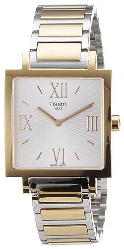 Tissot HAPPY CHIC SQUARE - Reloj analógico de mujer de cuarzo con correa de oro rosa dorada: Amazon.es: Relojes
