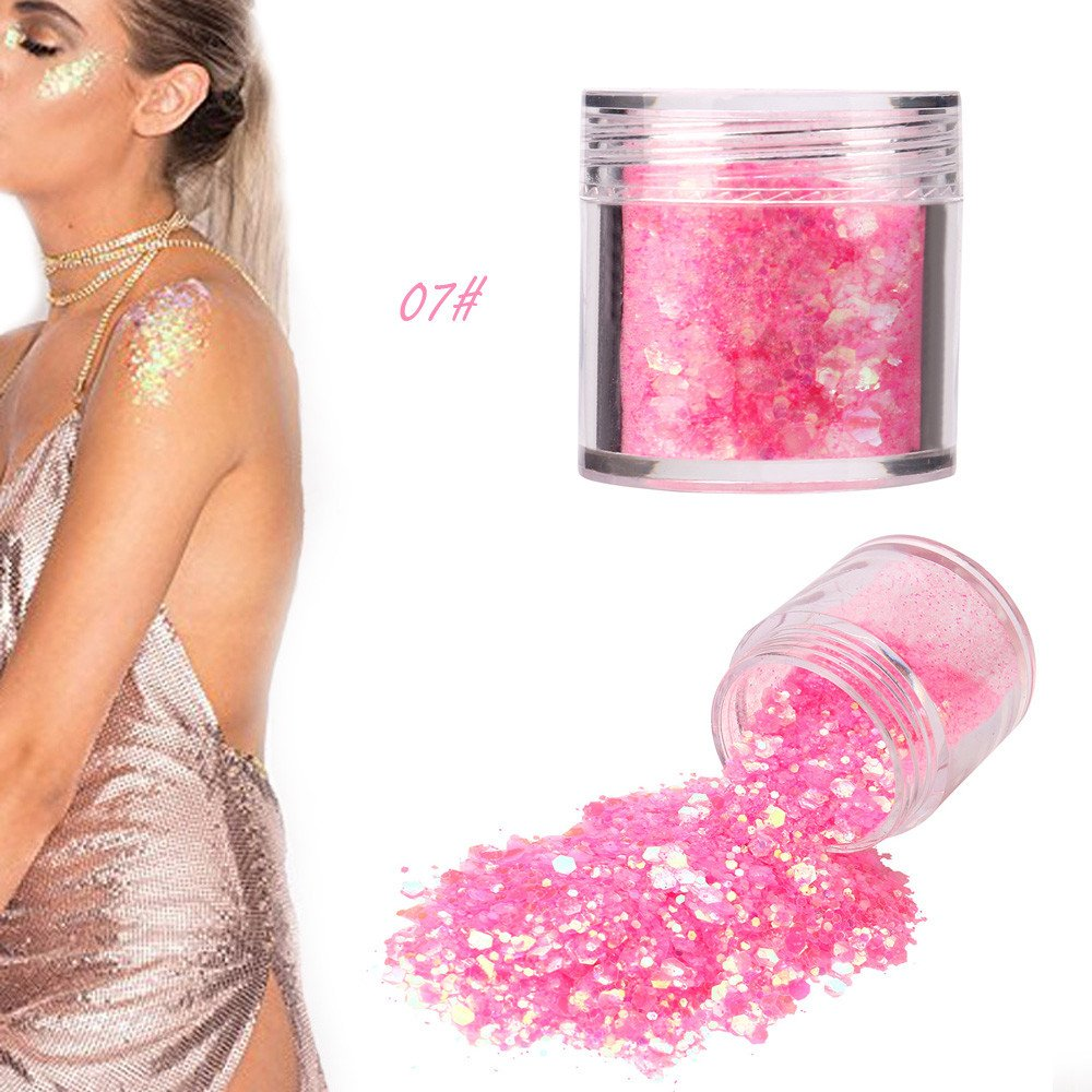 5G Shimmer Loose Sequins Powder Hosamtel Colorful Glitter Chunky Sequins Flakes Ultra-thin Tips Mixed Paillette Makeup Dust for Face Body Hair Nail Art Decor (07#)