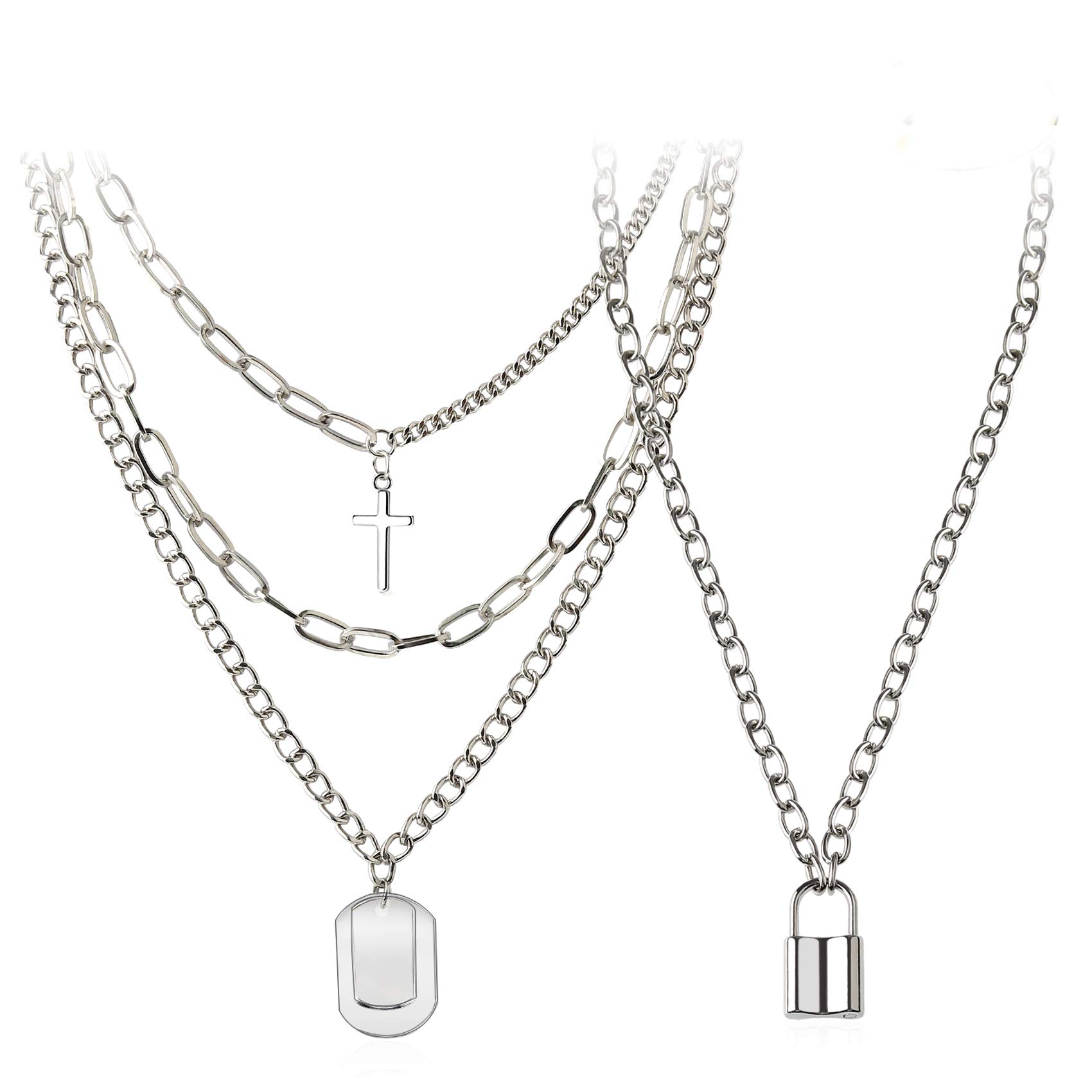 Womens Men Lock Chain Silver Necklace Punk Layered Padlock Gothic Pendant Hiphop