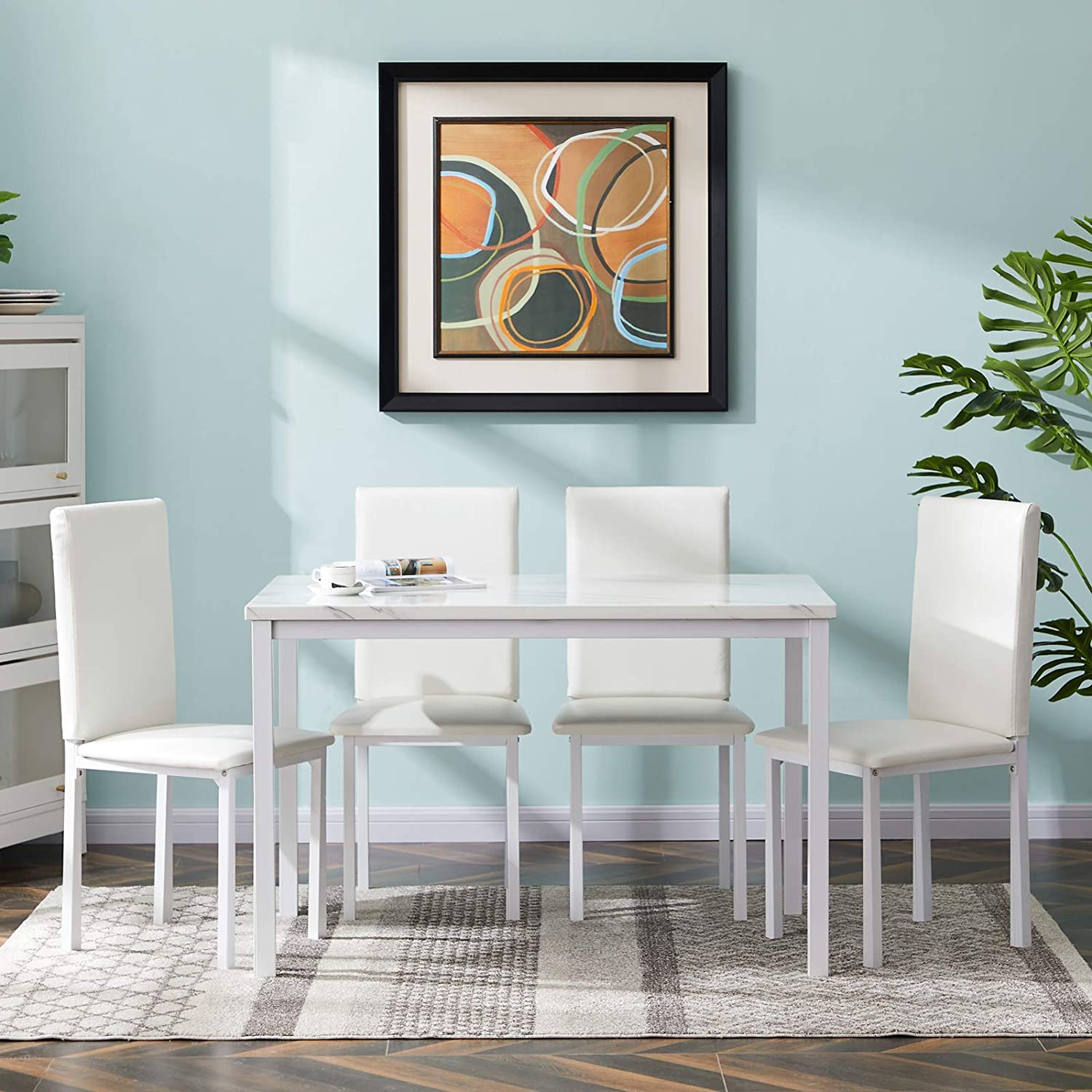 Amazon Com Mooseng 5 Pieces Dining Set Faux Marble 4 Upholstered Pu Leather Chairs Kitchen Table Perfect For Breakfast Nook Elegant White Chair Sets