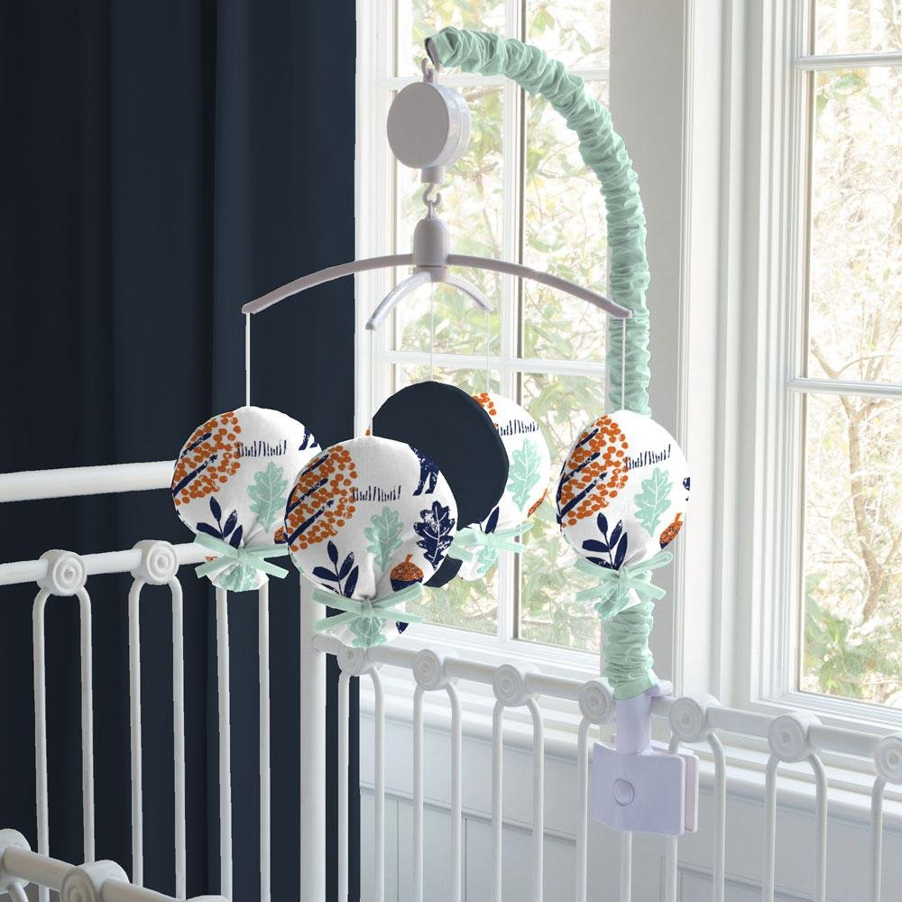 Carousel Designs Navy and Orange Woodland Mobile