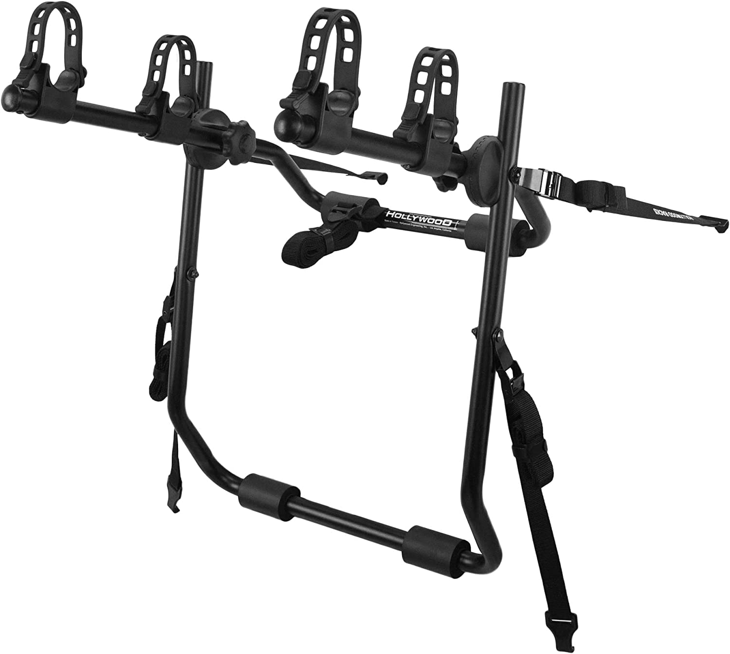 A close-up photo of a bike rack in black color with two bike holders.