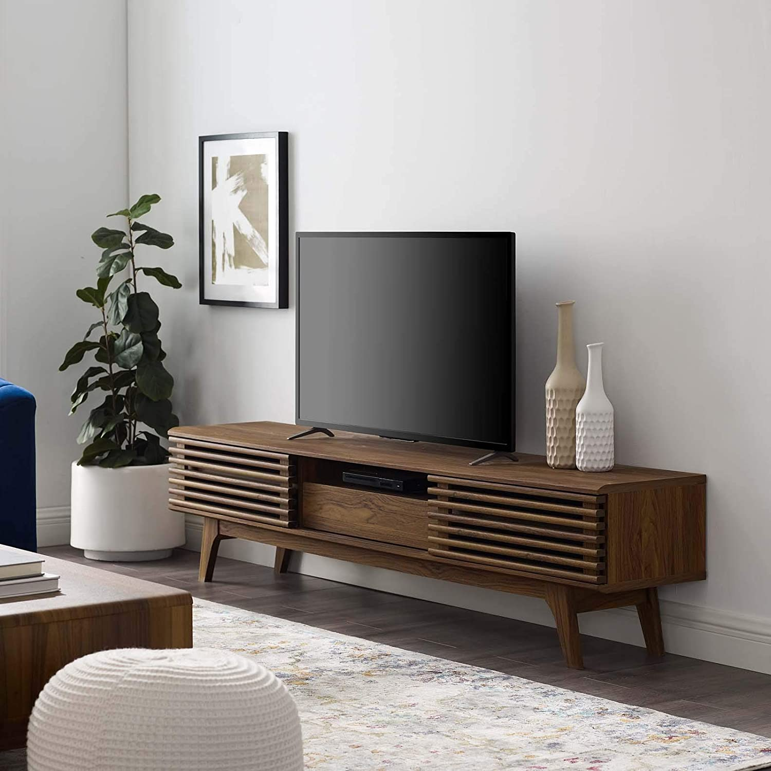 "Modway Render 70"" Mid-Century Modern Low Profile Entertainment TV Stand in Walnut"