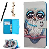Sony Xperia XA Case,Badalink Ultra PU Leather Case Wallet Flip Cover - Ultra Slim Fit - Viewing Stand - Card Slots - Magnetic Closure Inlaid Inner Soft TPU Case for Sony Xperia XA ,1 x Phone Case + 1 x Stylus Pen + 1 x Dustproof Plug(Owl)