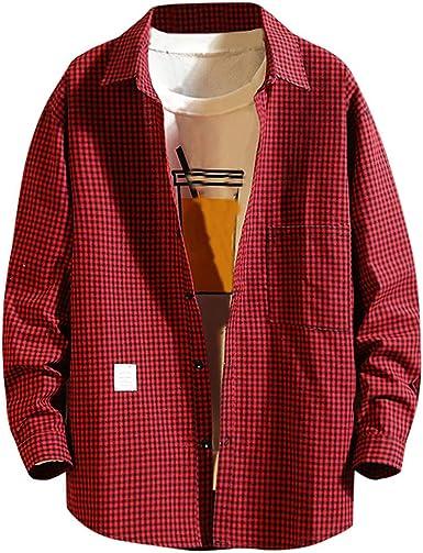 SoonerQuicker Camisa de Hombre T Shirt tee Moda Casual para Hombre de Negocios Impresión a Cuadros Camisa de Manga Larga Suelta Tops Blusa Blousa tee(Rojo XL): Amazon.es: Ropa y accesorios
