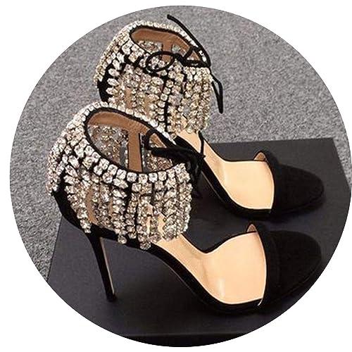 cfad39a7c54 Amazon.com | High Heels Stiletto Rhinestone Crystal Lace up Designer ...