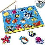 CORPER TOYS 木製パズル 釣りおもちゃ 魚 釣り遊び 釣りゲーム 型はめ 動物シリーズ フィッシング マグネット式 磁石付き 子ども向け 嵌め絵 ジグソーパズル かわいいセット カラフル