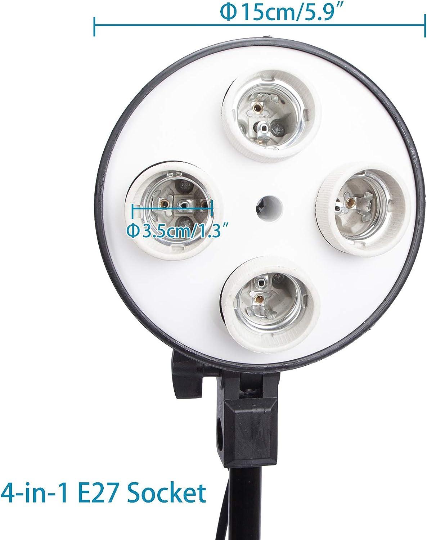 KinGrow E27-Lampenfassung mit Halterung 4 St/ück Schirmhalter f/ür Fotografie Lampen Studio Lampenst/änder