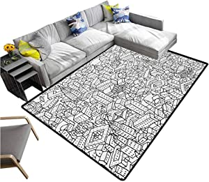 """Doodle Rug Pad Crowded Urban Life Depiction in a Simple Black and White Drawing Big Buildings Entryway Rug Black White (5'7""""x6'6"""")"""