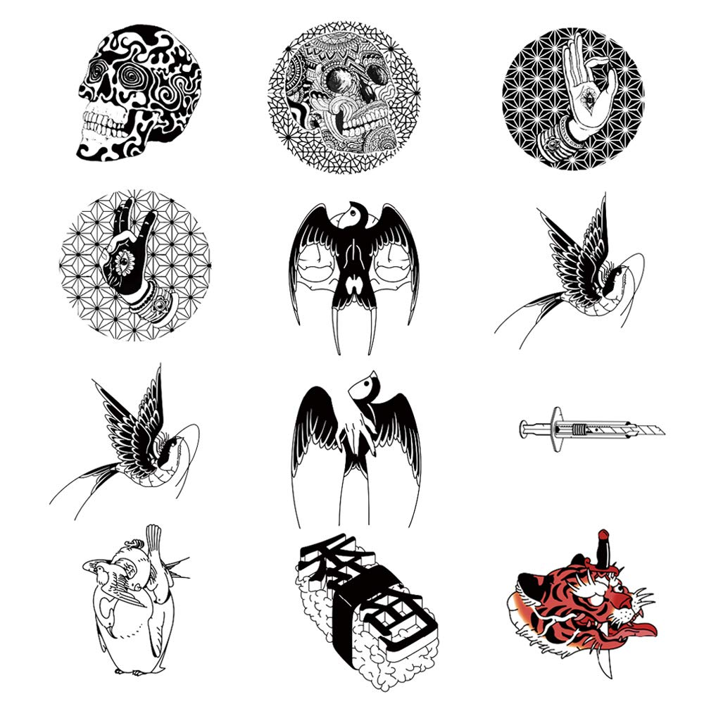12 Creative Design Temporary Tattoos by Inktells-Updated 2020-Swallow Bird,Skull,Tiger,tattoos for Women and Men|Fake Tattoos for for neck,back,hand and forearm (2 sheets)