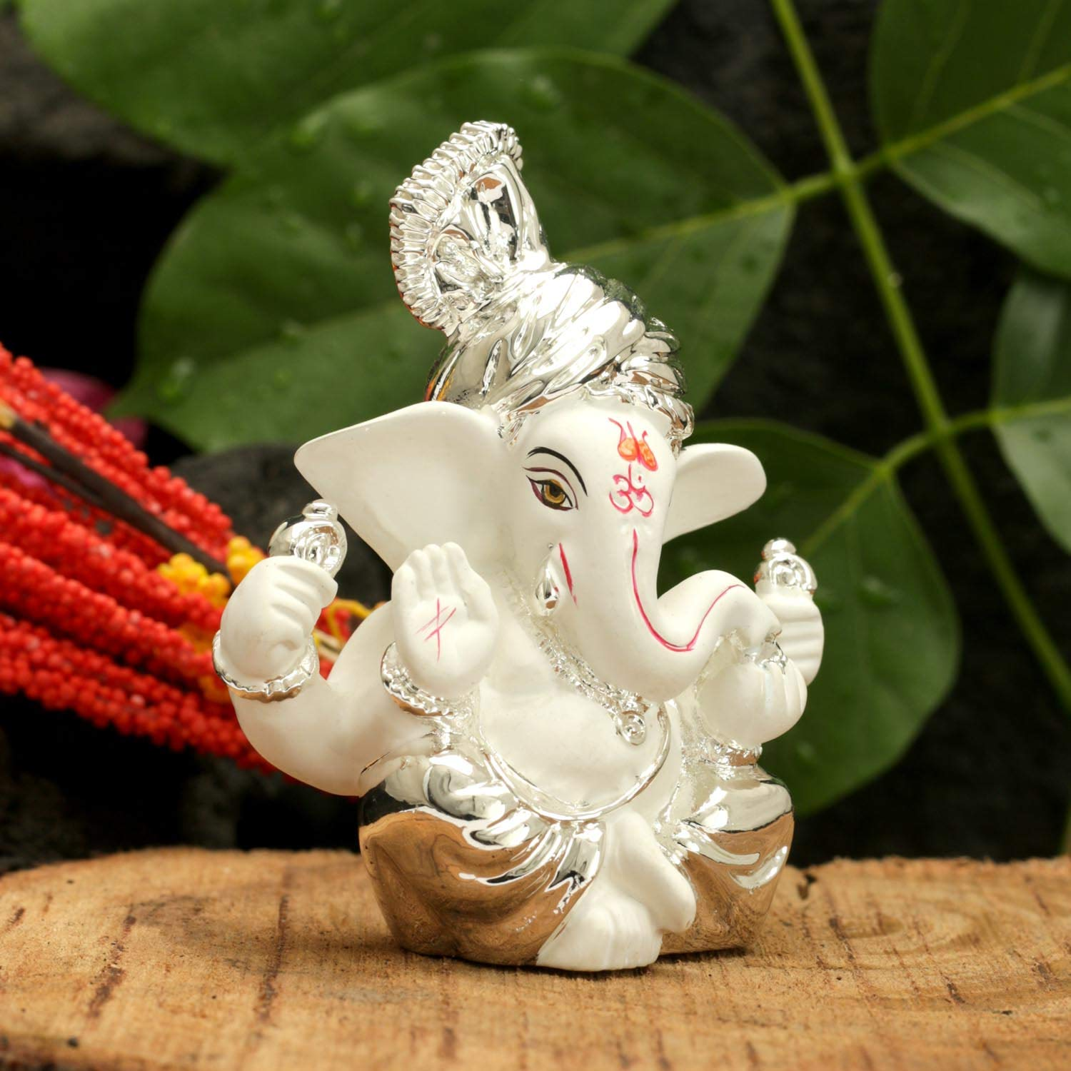 Size 8 x 6 cm CraftVatika Silver Plated Pagdi Ganesha for Car Dashboard Lord Ganesh Ganpati Idols Home Decor Gifts for Family and Friends