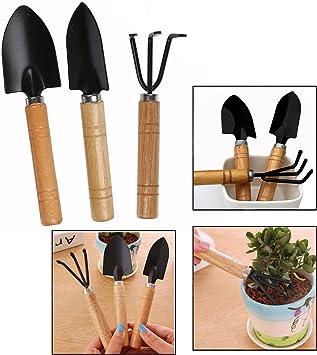 OFKPO Set de 3 de Mini Jardín Planta Herramienta Jardín Pala, Mango de Madera Herramientas de Jardinería Mini Conjunto: Amazon.es: Electrónica