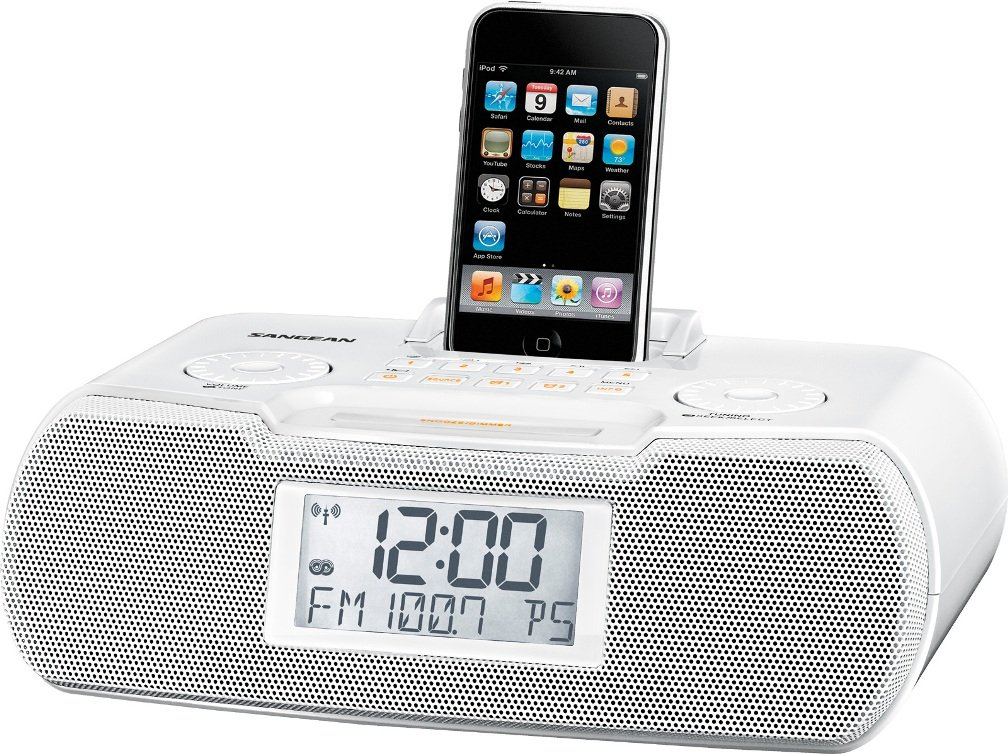 Sangean RCR-10WH FM-RBDS/AM/Aux-in Digital Tuning Atomic Clock Radio Compatible with iPod, White, FM/AM Stereo Digital Tuning Stereo, 10 Memory Preset Stations (5 FM, 5 AM), iPod Cradle Plays and Charges any iPod