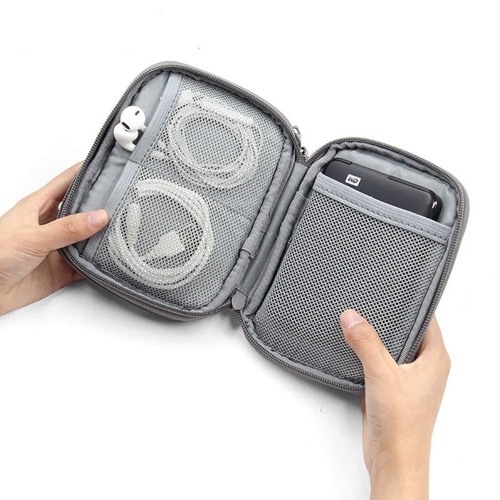 cargador tarjeta SD USB Organizador de cables de viaje para dispositivos electr/ónicos color gris auriculares peque/ño paquete de almacenamiento para cables de datos