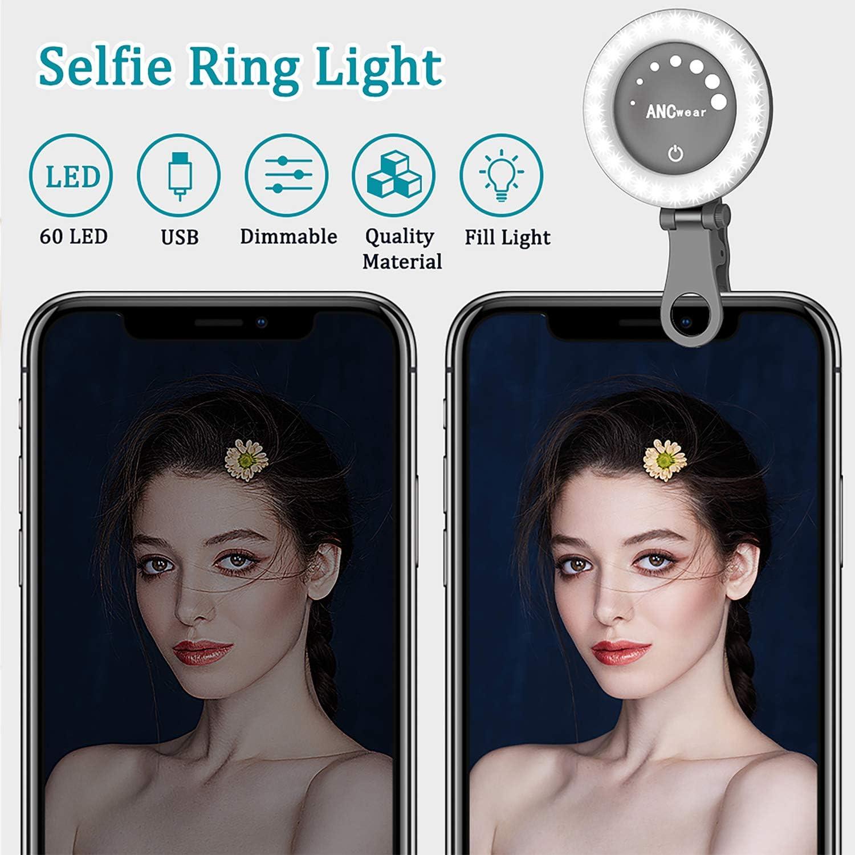 Rechargeable LED Night Selfie Enhancing Supplementary Beauty Lights ANCwear Selfie Ring Light 21 Lighting effect 3-Levels Adjustment Brightness Make Up for Any Smartphones Camera Tablets Laptop