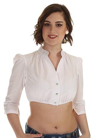 Hammerschmid Damen Dirndlbluse Langarm Dirndlbluse Stehkragen Bluse Dirndl  Hochgeschlossen Weiß  Amazon.de  Bekleidung 428fff1405