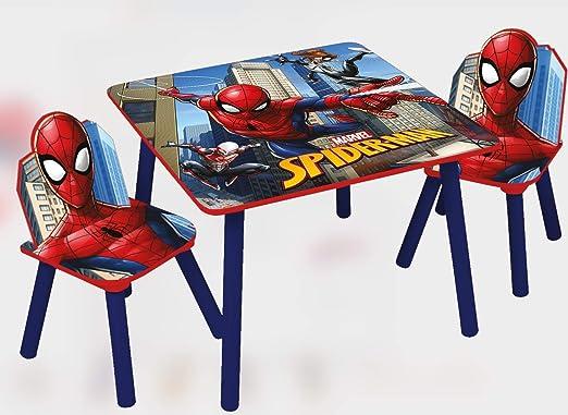 Marvel, Spiderman 48566-s – Juego de Mesa + 2 sillas, MDF, Rojo/Azul, Talla única: Amazon.es: Hogar