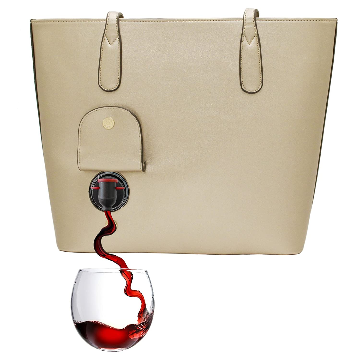 PortoVino Wine Purse (Gold) - Fashionable purse with Hidden, Insulated Compartment, Holds 2 bottles of Wine!