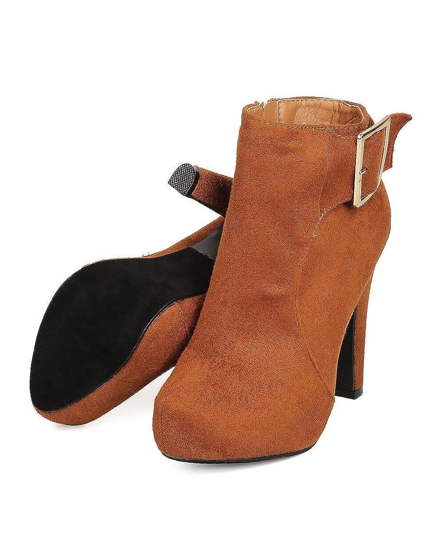 DBDK Women Faux Suede Almond Toe Buckle Platform Heel Bootie FD38 Camel